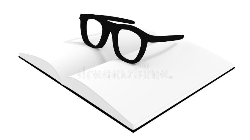 vidrios 3d en el libro blanco fotos de archivo