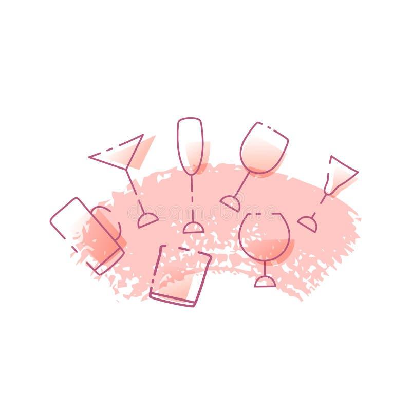 Vidrios de bebidas alcohólicas aisladas en el fondo blanco Ilustración del vector libre illustration