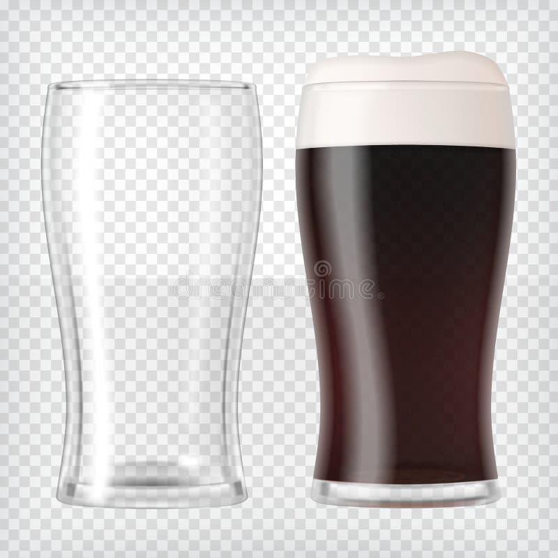 Vidrios de cerveza realistas - cerveza oscura y taza vacía libre illustration