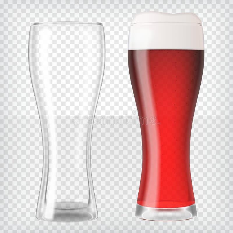 Vidrios de cerveza realistas - cerveza roja y taza vacía imagenes de archivo