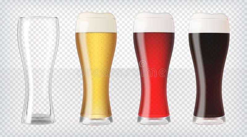 Vidrios de cerveza realistas fijados stock de ilustración