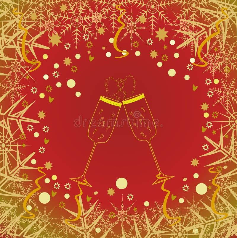 Vidrios de Champán. El fondo del Año Nuevo stock de ilustración
