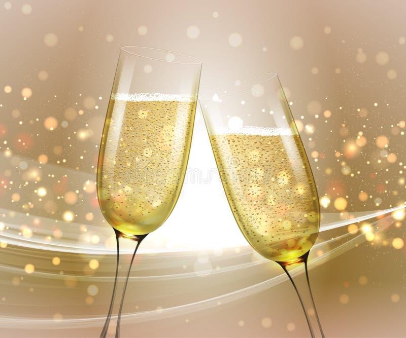 Vidrios de champán en fondo brillante con efecto del bokeh Ilustración del vector libre illustration
