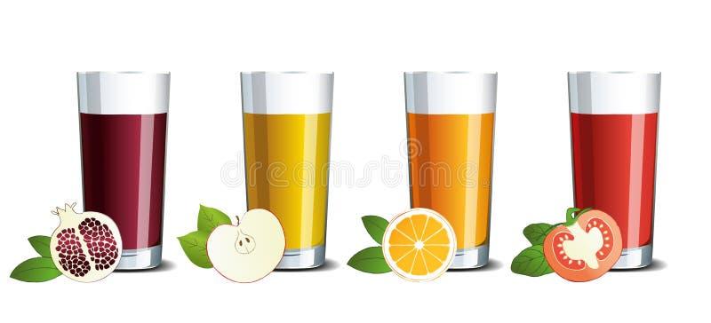Vidrios de cristal con el jugo de la granada, de la manzana, de la naranja y de tomate ilustración del vector