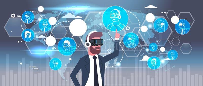 Vidrios de In 3d del hombre de negocios usando interfaz futurista con las conexiones de red sobre realidad virtual del fondo del  ilustración del vector