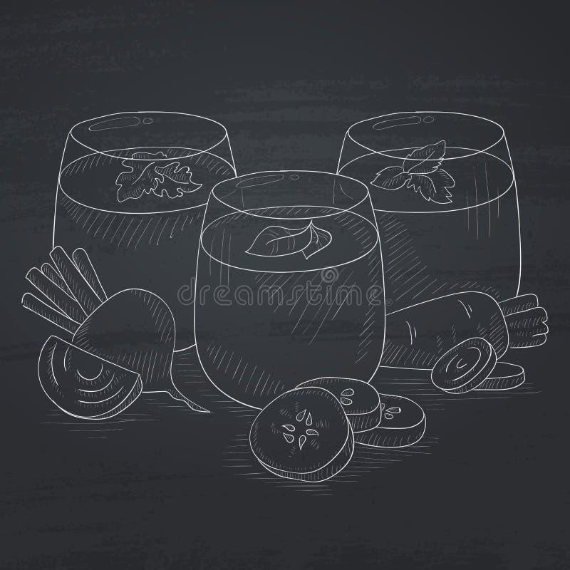 Vidrios de jugos vegetales recientemente exprimidos ilustración del vector