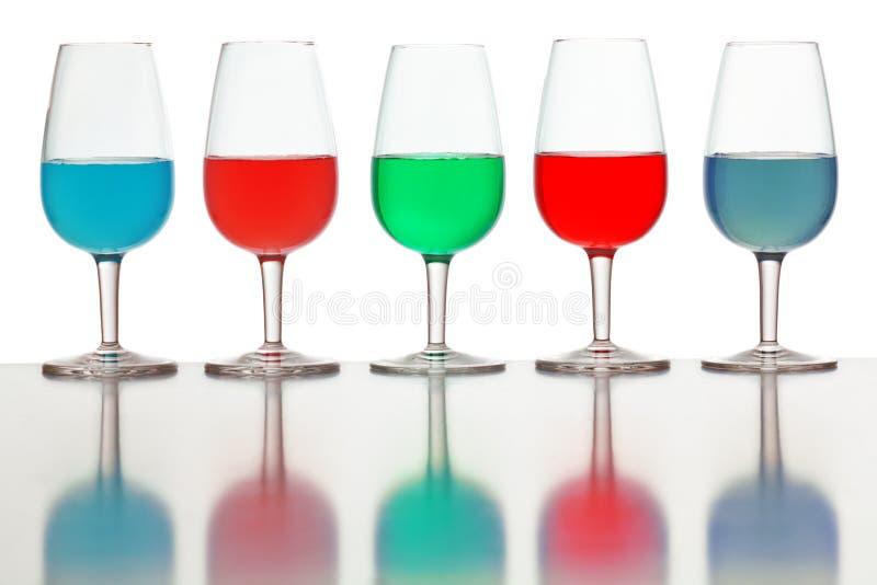 Vidrios de líquido coloreado fotografía de archivo libre de regalías