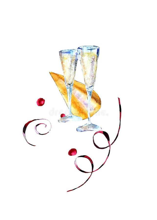 Vidrios de la acuarela con el vino espumoso, el sombrero del carnaval y las flámulas de papel ilustración del vector