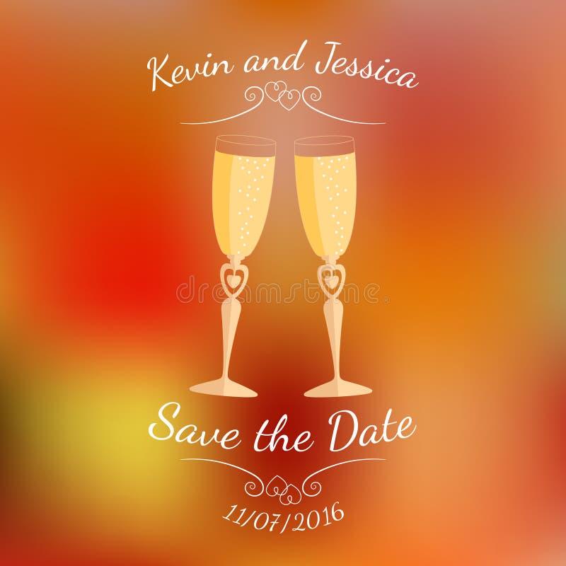 Vidrios de la boda con champán sobre fondo borroso colorido abstracto del vector ilustración del vector