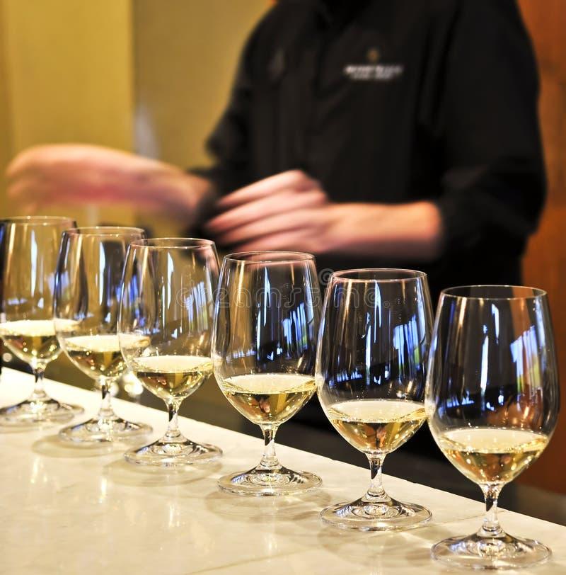 Vidrios de la prueba de vino foto de archivo libre de regalías