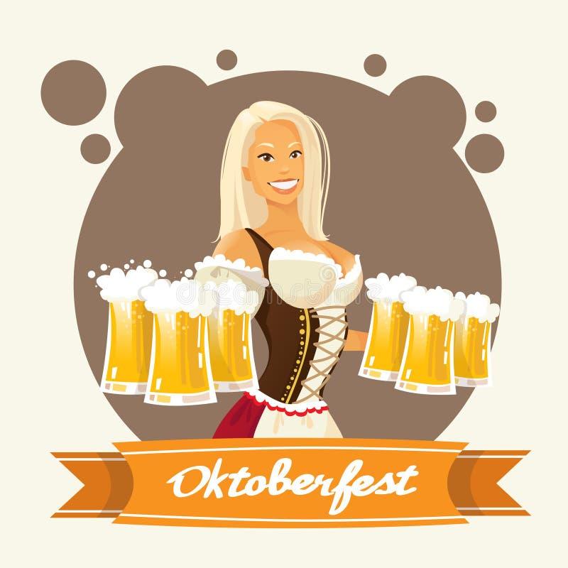 Vidrios de la taza de cerveza del control de la muchacha del festival de Oktoberfest stock de ilustración