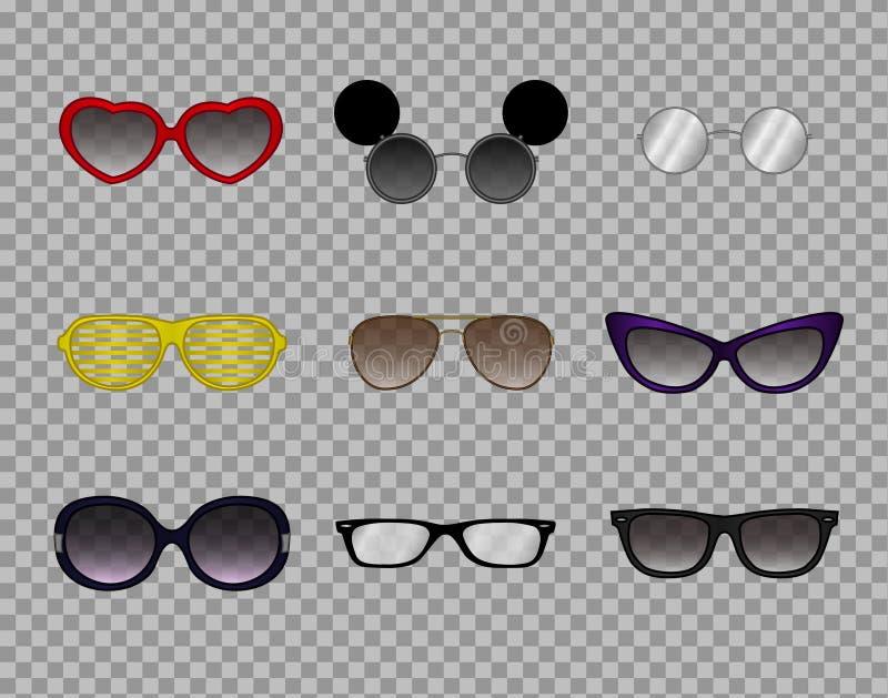 Vidrios de moda, gafas modernas elegantes, la óptica, gafas de sol ilustración del vector