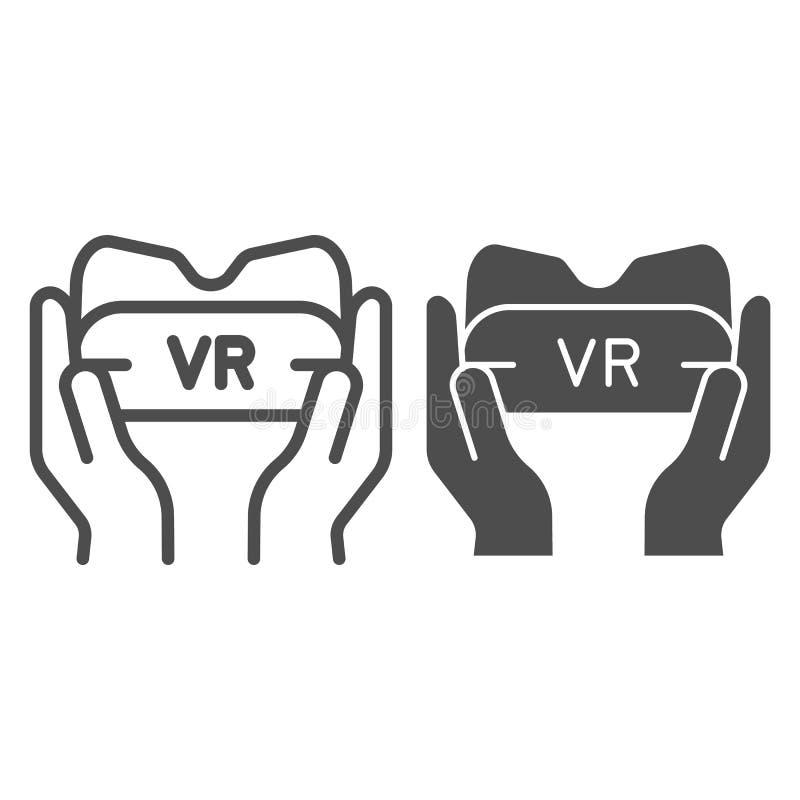 Vidrios de Vr en línea de manos e icono del glyph Ejemplo del vector del dispositivo del juego aislado en blanco Gafas de la real stock de ilustración