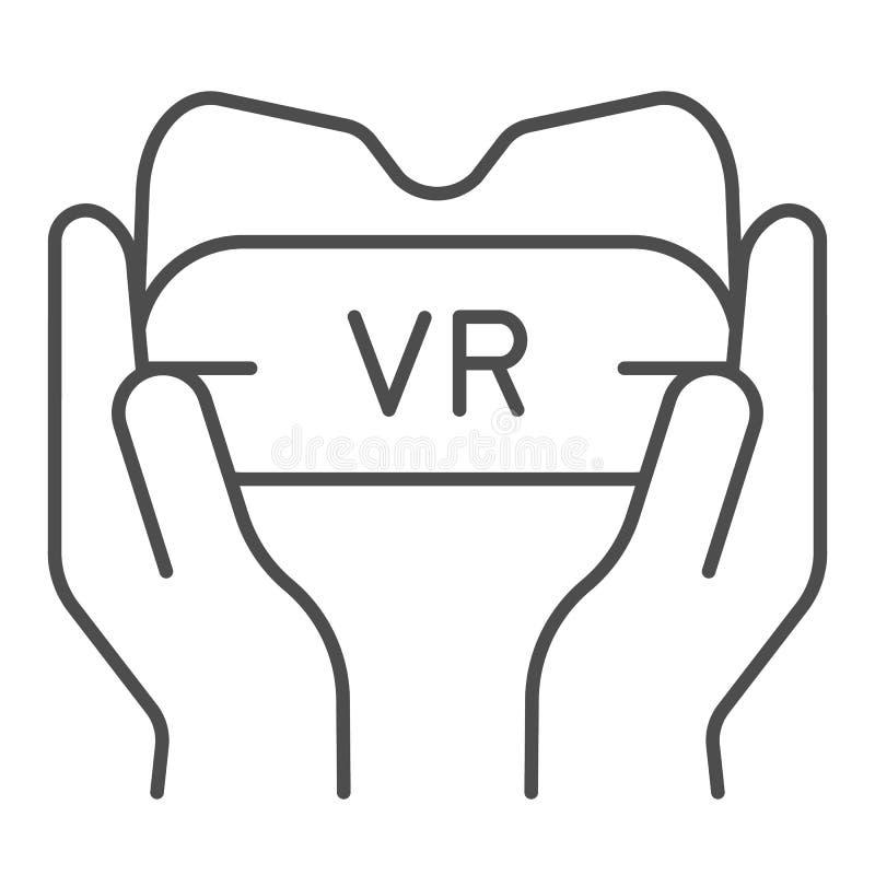 Vidrios de Vr en la línea fina icono de las manos Ejemplo del vector del dispositivo del juego aislado en blanco Gafas de la real libre illustration