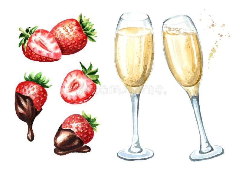 Vidrios del champán y de la fresa con el sistema del chocolate Ejemplo dibujado mano de la acuarela, aislado en el fondo blanco ilustración del vector