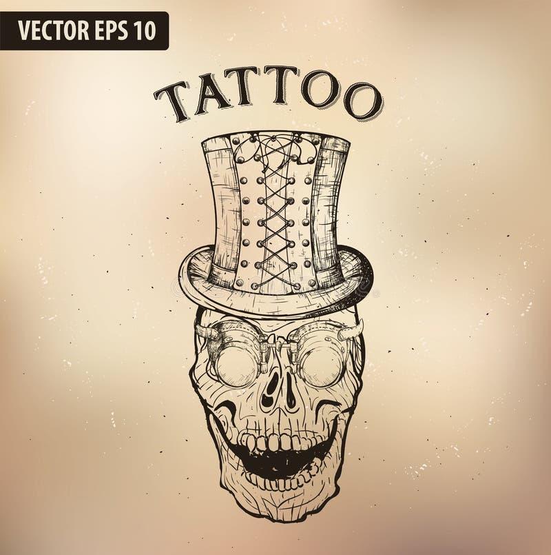 VIDRIOS del cráneo del tatuaje de Steampunk libre illustration