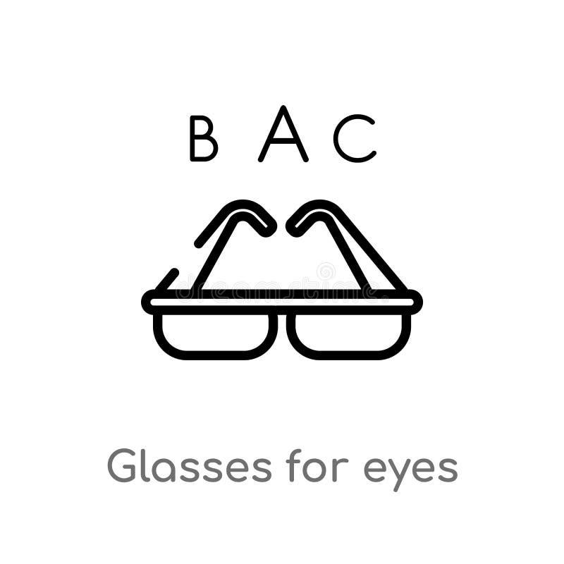 vidrios del esquema para el icono del vector de los ojos línea simple negra aislada ejemplo del elemento del concepto médico Movi stock de ilustración