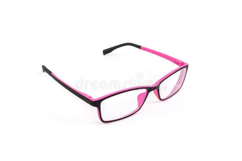 Vidrios del plástico del ojo del negro y del rosa imagen de archivo