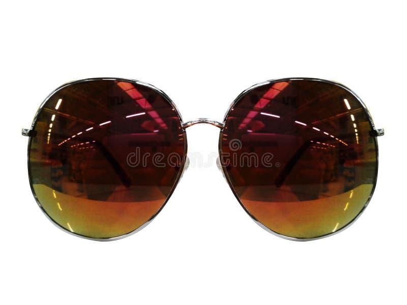 Vidrios en el fondo blanco Negro de la moda Gafas de sol negras S imágenes de archivo libres de regalías