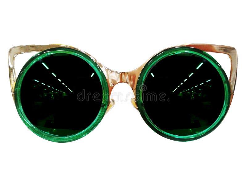 Vidrios en el fondo blanco Negro de la moda Gafas de sol negras S imagen de archivo
