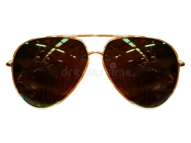Vidrios en el fondo blanco Negro de la moda Gafas de sol negras S fotos de archivo