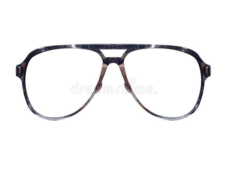 Vidrios en el fondo blanco Negro de la moda Gafas de sol negras S imagen de archivo libre de regalías