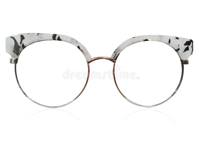 Vidrios en el fondo blanco Negro de la moda Gafas de sol negras S fotografía de archivo