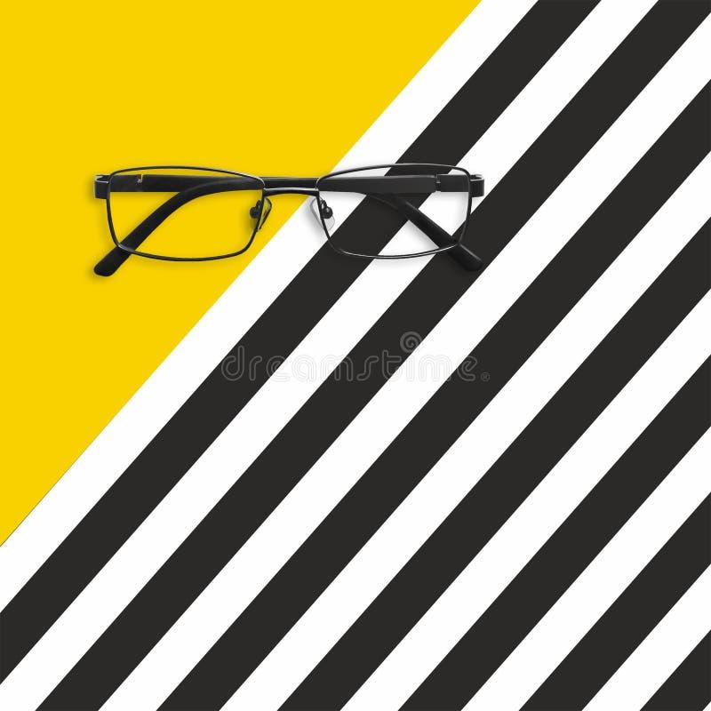 Vidrios en el fondo rayado blanco amarillo y negro Endecha plana ilustración del vector