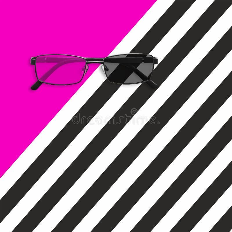 Vidrios en el fondo rayado blanco rosado y negro Endecha plana stock de ilustración