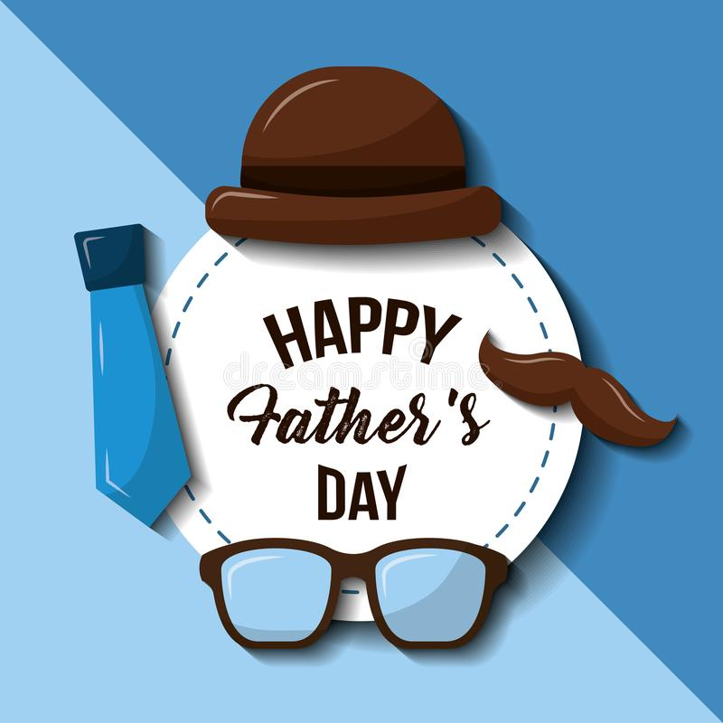 Vidrios felices bigote del sombrero del día de padres y estilo retro de la corbata stock de ilustración