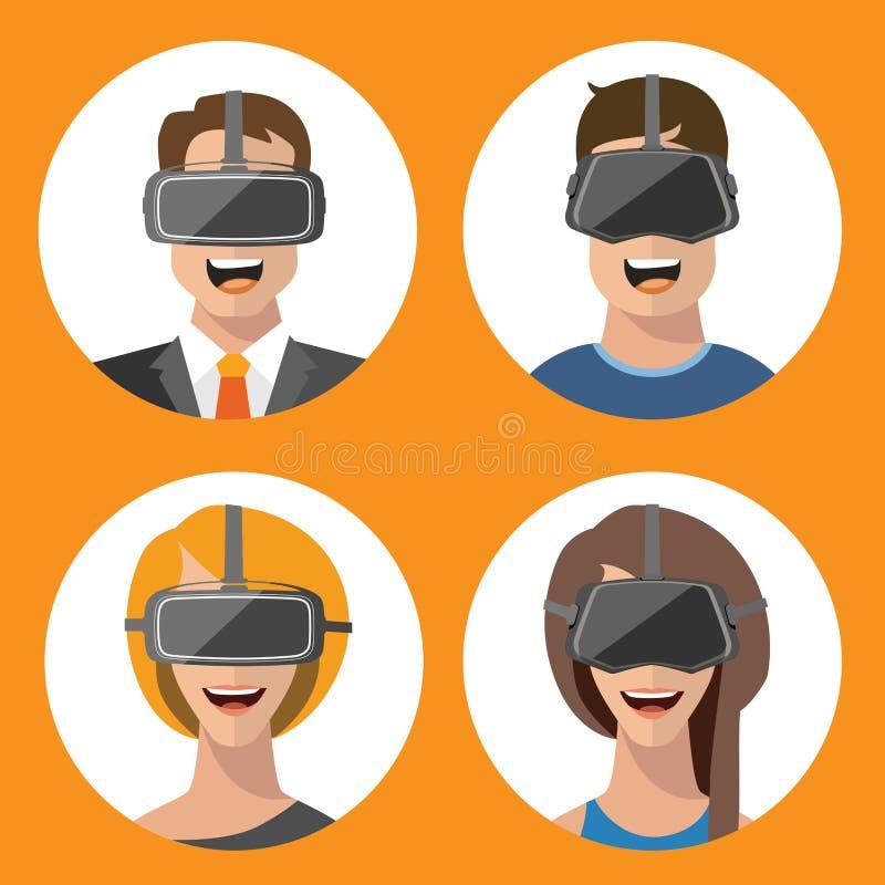 Vidrios hombre de la realidad virtual e iconos planos de la mujer foto de archivo