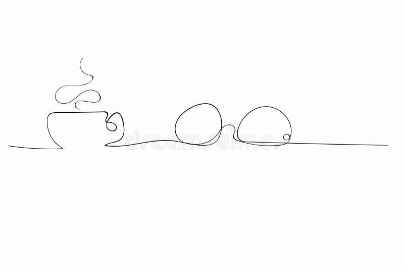 Vidrios junto a un café caliente de la bebida, té, cacao en una línea stock de ilustración