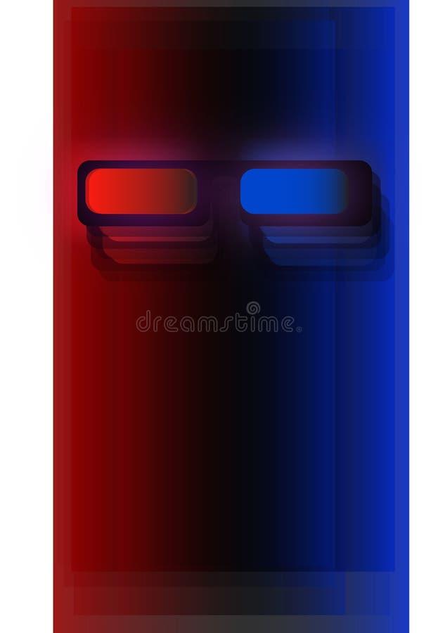 Vidrios móviles del papel pintado 3d ilustración del vector