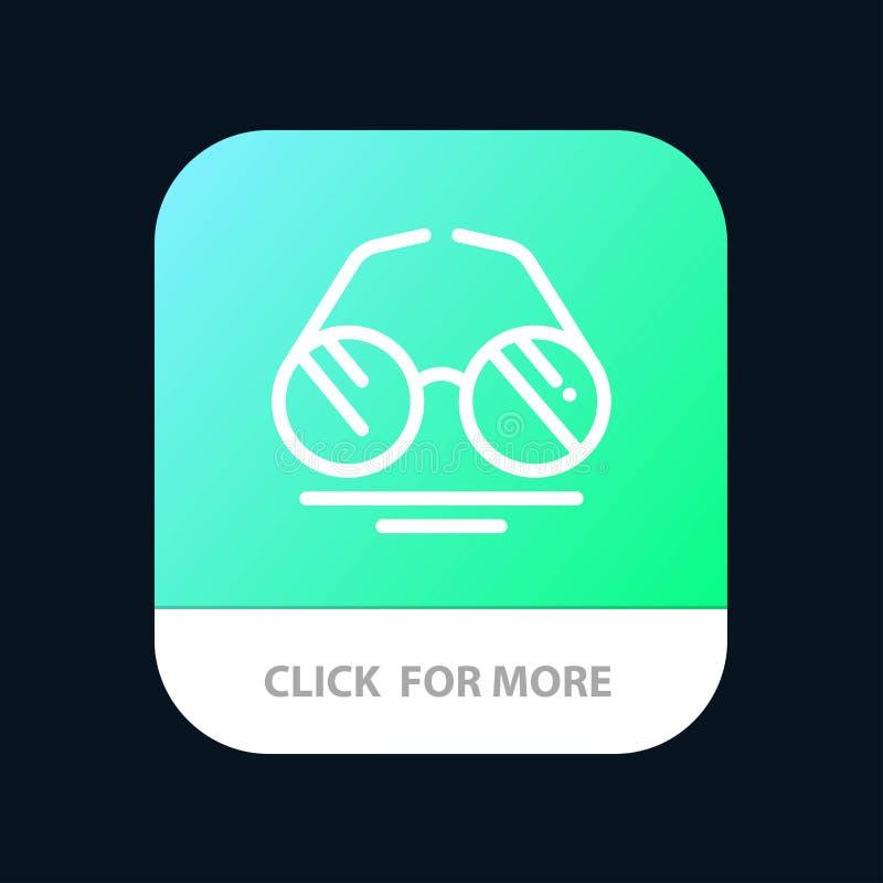 Vidrios, ojo, visión, botón móvil del App de la primavera Android y línea versión del IOS stock de ilustración