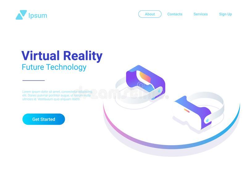 Vidrios planos isométricos de la realidad virtual del casco de VR v libre illustration