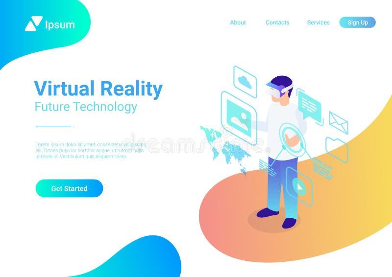 Vidrios planos isométricos de la realidad virtual del casco de VR v stock de ilustración