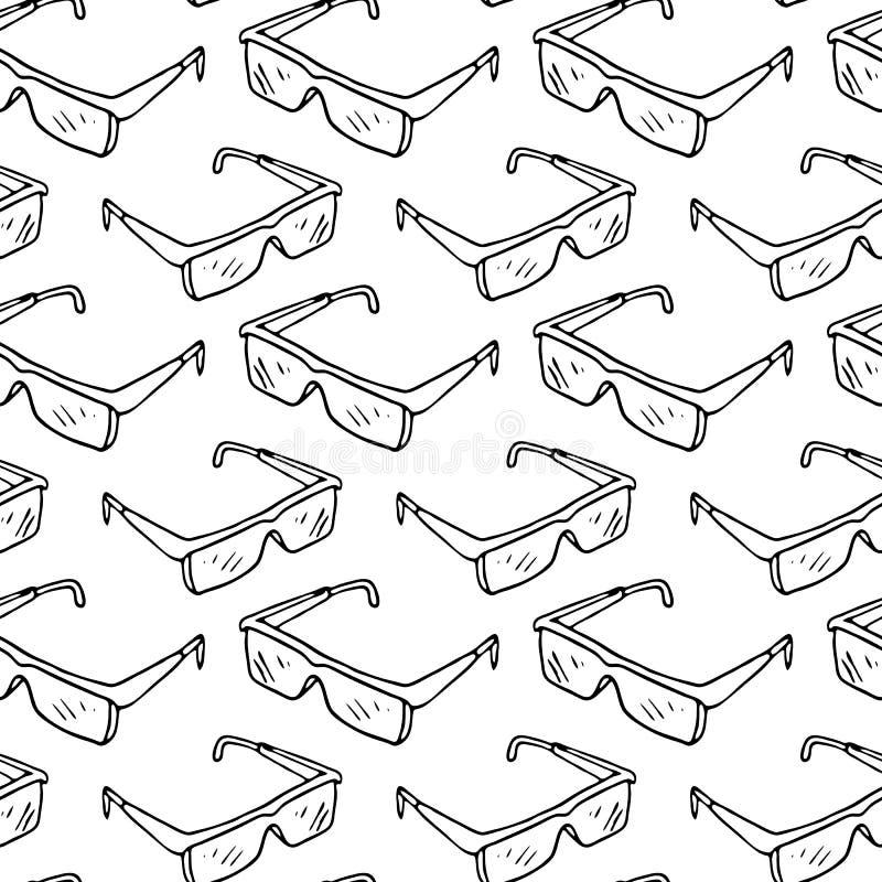 Vidrios protectores exhaustos de la mano inconsútil del modelo Ske del negro del garabato libre illustration