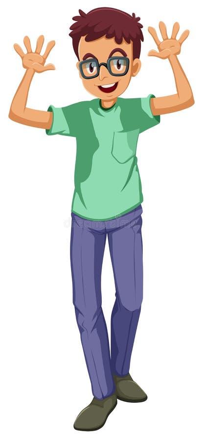 Vidrios que llevan de un hombre ilustración del vector