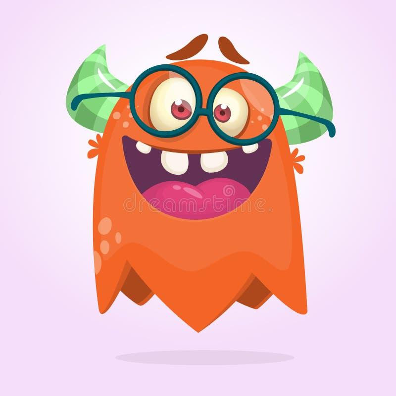 Vidrios que llevan del monstruo de la historieta Ejemplo del vector para Halloween Diseño para la decoración del partido, impresi libre illustration