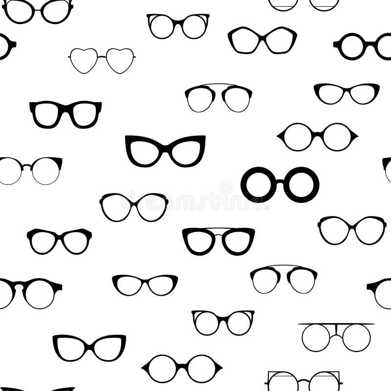 Vidrios retros inconsútiles Siluetas negras de las gafas de sol Icono de los vidrios del ojo Ilustración del vector stock de ilustración
