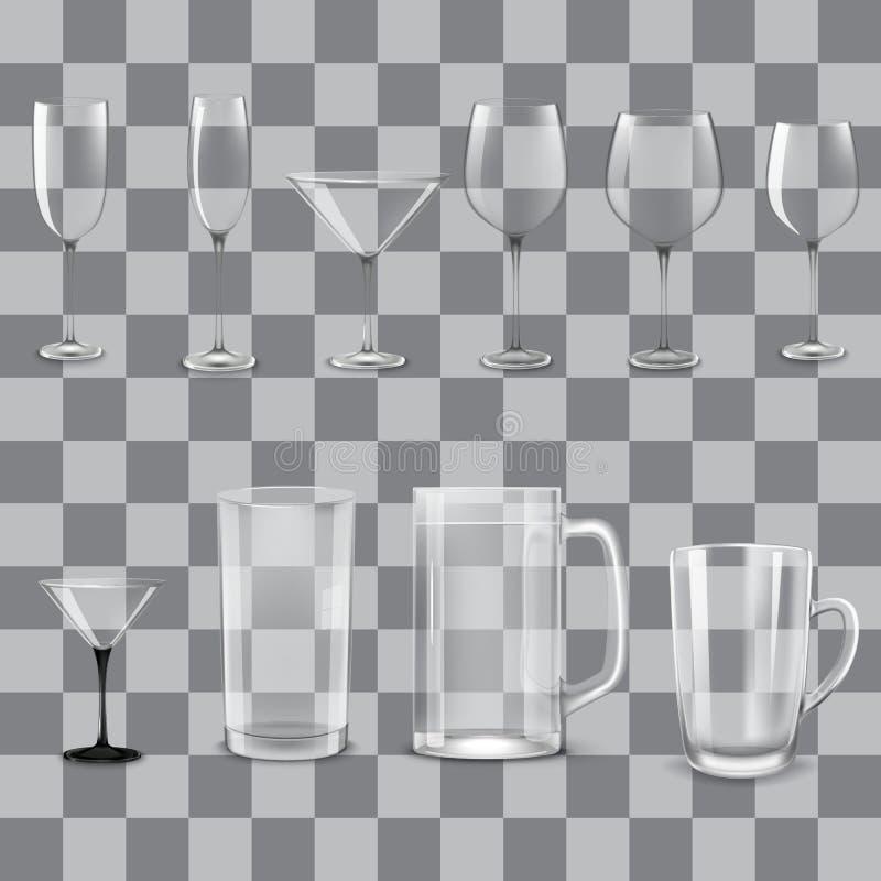 Vidrios vacíos transparentes fijados ilustración del vector
