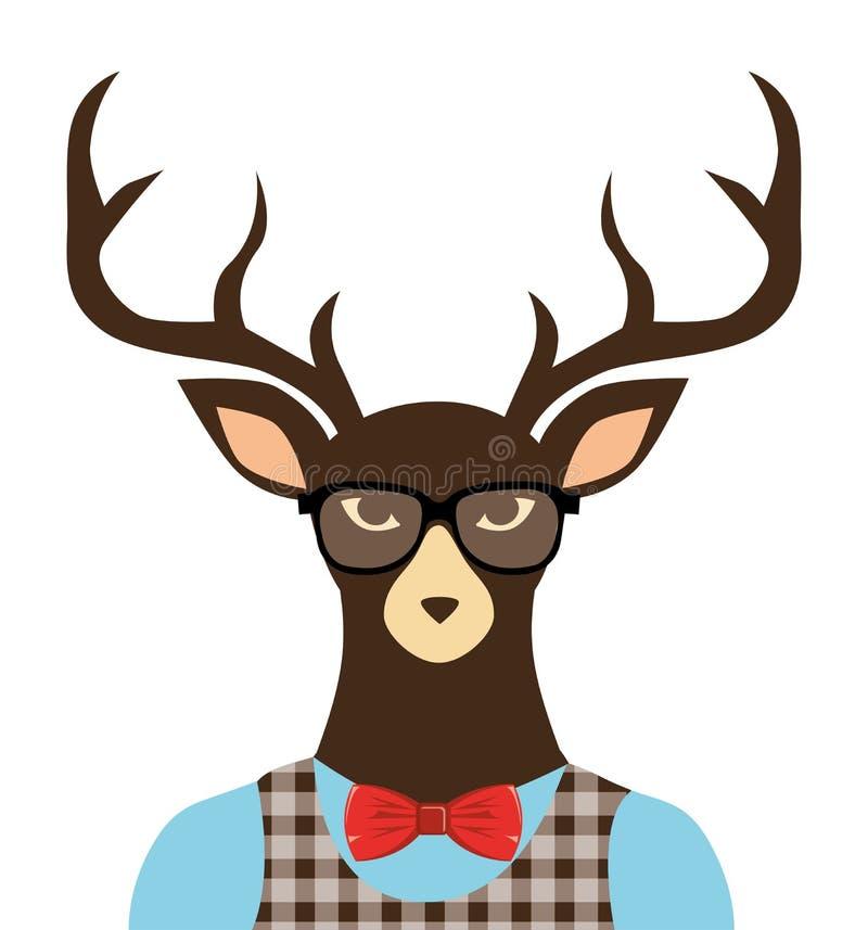 vidrios vestidos inconformista de los ciervos ilustración del vector