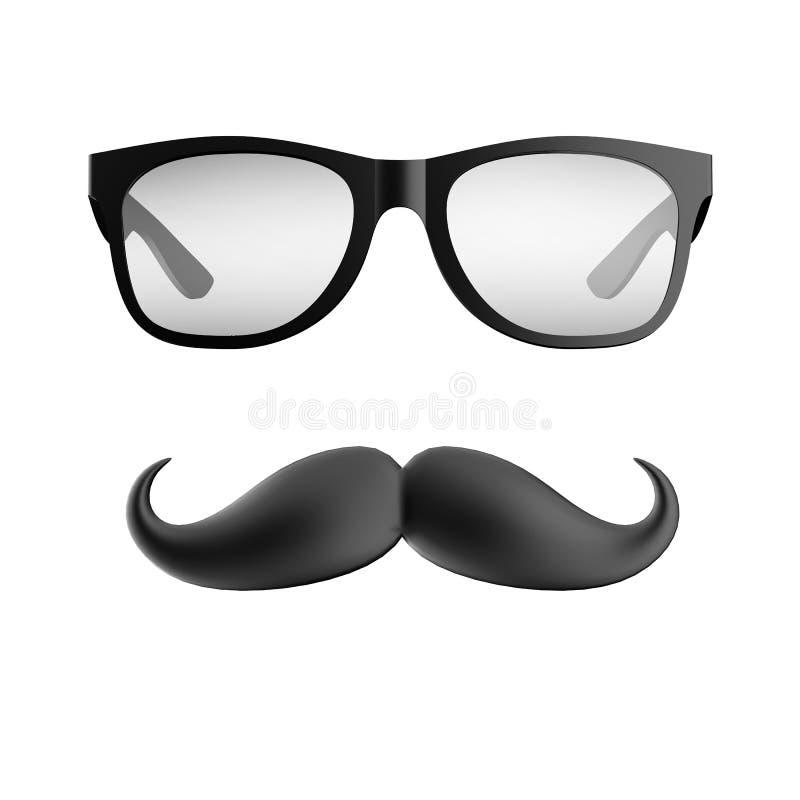 Vidrios y bigote ilustración del vector