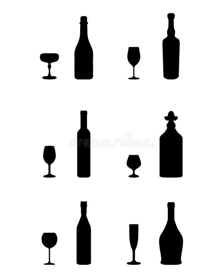 Vidrios y botellas stock de ilustración