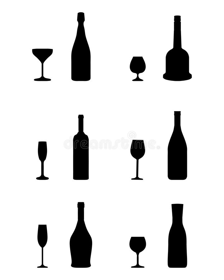 Vidrios y botellas ilustración del vector