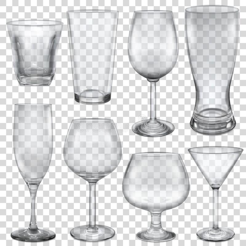 Vidrios y stemware vacíos transparentes ilustración del vector