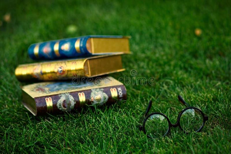 Vidrios y tres libros en la hierba fotos de archivo