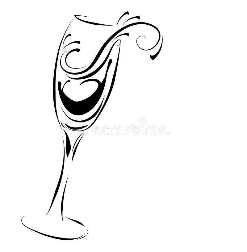 Vidro abstrato do champanhe ilustração stock