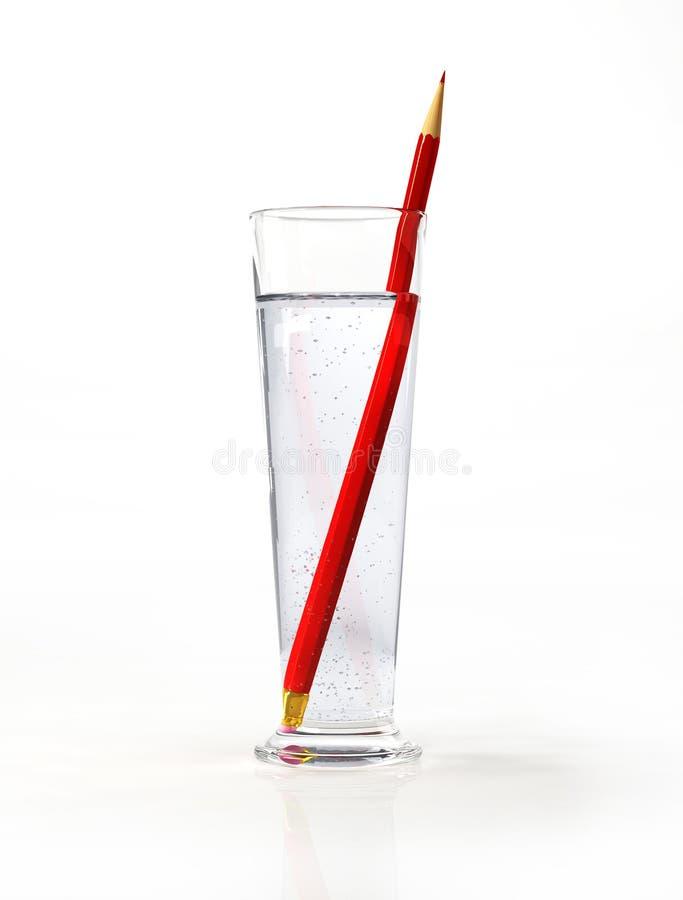 Vidro alto da água, com um lápis vermelho para dentro. fotos de stock royalty free