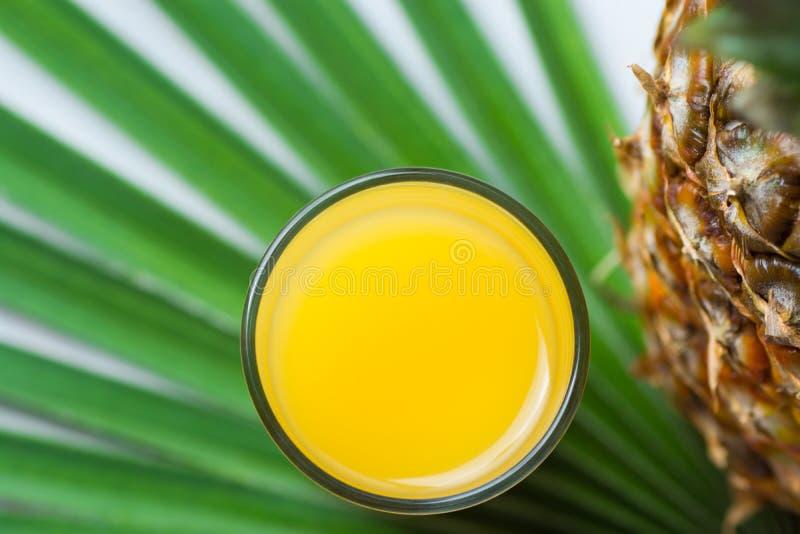 Vidro alto do abacaxi inteiro com suco alaranjado recentemente pressionado do citrino na folha pontudo da palmeira Vista superior foto de stock